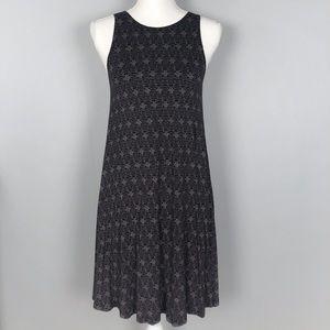 Old Navy black patterned sleeveless swing dress XS